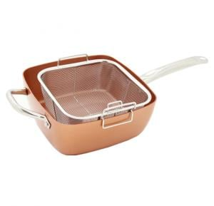 Sonashi 5 In 1 Copper Coated Fry Pan - Square 30cm-	SFP-8030