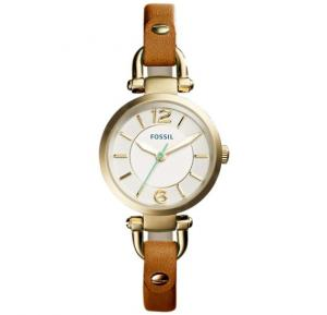 Fossil Silver Dial Leather Strap Band Watch For Women - ES4000