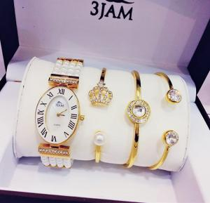 3 JAM Ladies fashion watch & bracelets gift set, 3J27