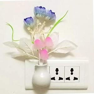 Auto Color Change LED Night Light with Mushroom and Different Flower Designs, Assorted Color
