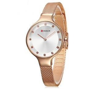 Curren Elegant CZ Stud Hour Marks Analog Fine Mesh Strap Watch for Women, 9008,Rose Gold