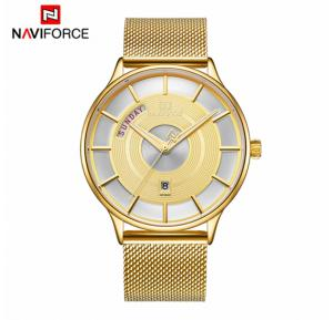 Naviforce NF3007 Waterproof Wrist Watch For Men - Gold