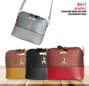 4 in 1 Bundle Women Fashion Deer Decore Crossbody Bag, Black,Red,Brown,Grey