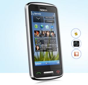 Nokia C6-01 3G Mobile Phone, 3.2 Inch Display, 340MB RAM, 1GB ROM, Camera, Radio - Black