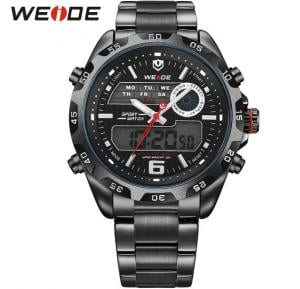 Weide Mens Watches Top Brand Luxury Quartz Watch 30 Meters Waterproof Back Light Display Wristwatch - 3403 Black
