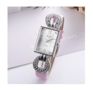 Generic Luobos Quartz Rhinestone Rectangle Dial Casual Wristwatch - Pink
