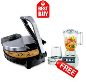 Combo Offer! Orbit Chapatti Roti/ Tortilla Maker, Silver cloud2 & Get He-House Blender 2 In 1 With White Jar HT999 FREE
