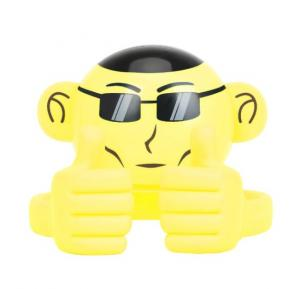 Promate Bluetooth Speaker, Portable Monkey Shape Multifunction Wireless Speaker with 3.5mm Audio Jack and Thumbs-up Adjustable Flexible Smartphone Holder for Tablets, Cell Phones, Ape Yellow
