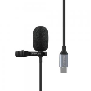 Promate USB-C Lavalier Mic with HD Sound, Type-C Connector Clip-On Mic, Noise Reduction, ClipMic-C