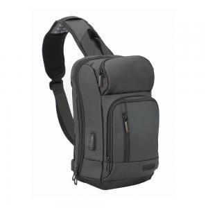 Promate Sling Laptop Backpack Crossbody Water Resistant 13 Inch Laptop Bag with USB Charging Port, TREKPACK-SB.BLACK