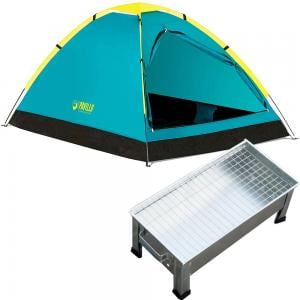 2 in 1 Camping Bundle Pack Bestway Pavillo Cooldome 2 Person Tent, 68084 with Indoor and Outdoor Barbecue Stand, Silver