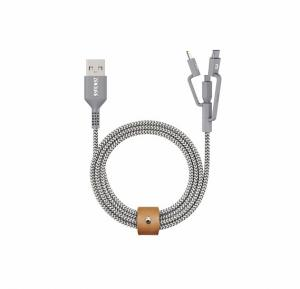 Zendure ZDU2MLCK3-GY 1mtr SuperCord 3 in1 Cable [Micro+Type c+8Pin] Grey