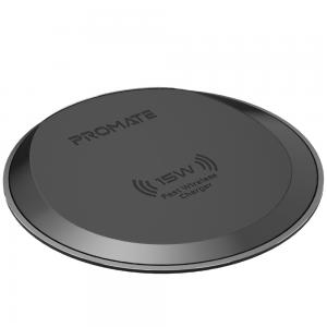 Promate Wireless Charger, Premium Ultra-Slim 15W Fast Wireless Charging Pad with Anti-Slip Surface and Multi-Protect, AuraPad-15W Grey