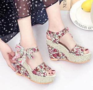 Kate Floral Wedges, Pink-39