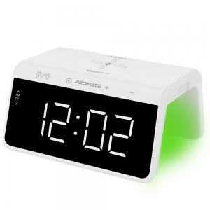 Promate Digital Alarm Clock with 10W Wireless Charging, RGB Night Light, USB Port, TimeBridge-Qi White