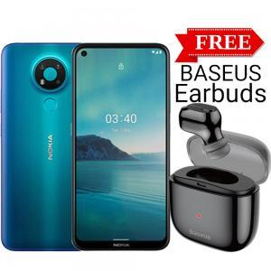 Nokia 3.4 Dual SIM 4GB RAM 64GB 4G LTE, Blue With Baseus Single Earbuds Free