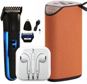3 in 1 Bundle Pack Coloured Headsets, Bluetooth Speaker and Cordless Nose-Ear Trimmer