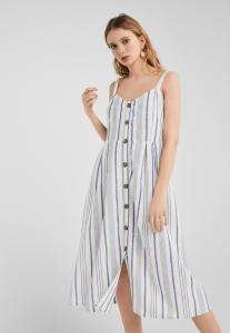 Springfield Ladies Fashion Dress Blue/Flowers/V-Neck