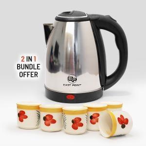 2 in 1 Tea & Coffee Bundle 2.0 Ltr Kettle + 6pcs Coffee Cups