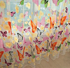 200x100cm Colorful Butterlfly Printed Curtain Organdy For Door Window Screen Curtain