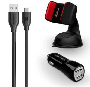 Promate Car Kit With 3.1A 2USB Car Charger, Car Mount and 1.2m Type-C Cable