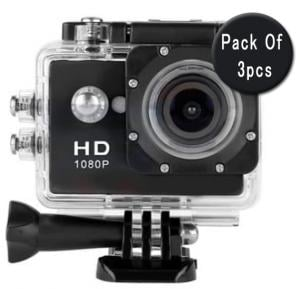 3 In 1 Bundle Offer, Sport Full HD 1080p Action Camera 30 Meters WaterProof 2 Inch Screen, 120 Degree Wide Angle
