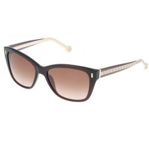 Carolina Herrera Aviator Black Havana Frame & Brown Gradient Mirrored Sunglasses For Women - SHE596-0958