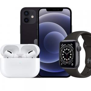 3 in 1 Apple Offer Pack Apple AirPods Pro Wireless Earphones White, Apple Watch Series 6-44 mm GPS Space Gray Aluminium Case with Black Sport Band With Apple iPhone 12 Mini, 64GB Storage, 5G, Black With FaceTime