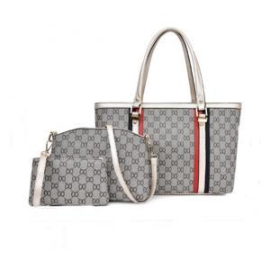 3 Pcs Women Hand Bag Set WB19-09 - Gold handle