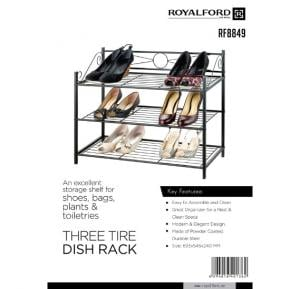 Royalford 3-Tire Metal Shoe Rack  - RF8849