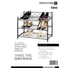 Royalford 3-Tire Metal Shoe Rack  - RF8849