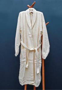 Rest Cotton Bathrobe Unisex Ivory Color, 9032151