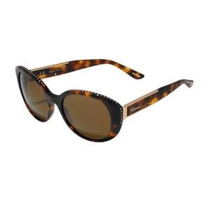 Chopard Oval Havana Marine Frame & Brown Mirrored Sunglasses For Women - SCH191S-0748