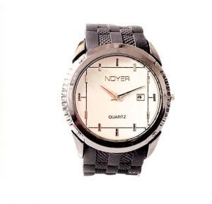 Quartz-Noyer Black Rubber Strap Watch For Men