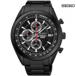 Seiko Men Analog Black Dial Stainless Steel Watch, SSB179P1