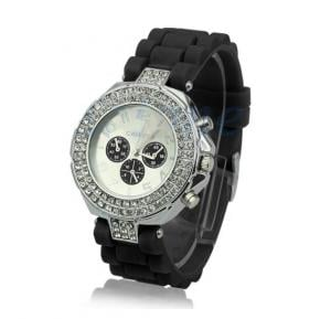 Generic Unisex Geneva Stainless Steel Jelly Silicone Mens Womens Sports Watches-Black