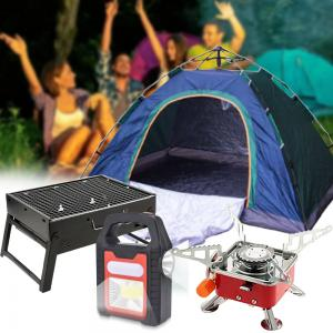 4 in 1 Camping Pack Automatic 2 Person Pop Up Tent BBQ Charcoal Grill Portable Butane Gas Stove with Multifunctional Solar Lamp