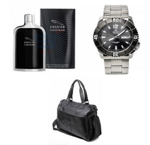 3 In 1 Bundle Offer Orient Watch 100% Steel Plus Bag And Perfume