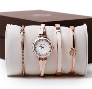Ande Klevn fashion watch & bracelets set box Rose Gold White