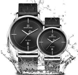 Naviforce Simple And Beautiful Leather Strap Watches For Couples - Black