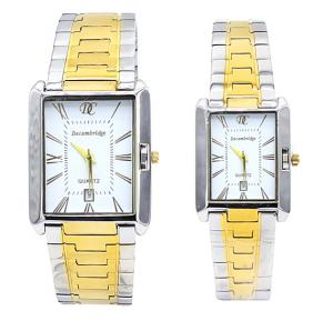 Decambridge White dial Couple Watch Set 8101GL-White