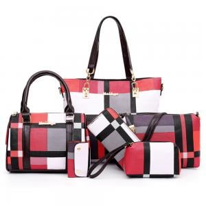 Womens 6 Piece PU Leather Canvas Bag with Pattern/Print Zipper,Pink