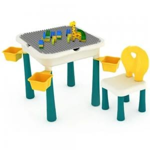Little Story LS_BLCTB_LAGR 4 in 1 Activity and Block Table 60 Blocks, Green