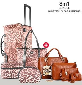 8 in1 Bundle of Okko Trolley Bag with Ladies Handbag, Brown
