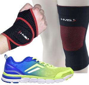 3 in 1 mens fitness bundle, Deerway Mens Sports Shoes, Blue and Green, Hms Knee Support Ko1525, Hms Wrist Support Na1248