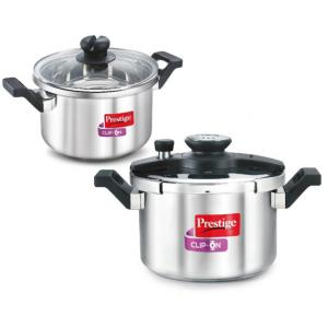Prestige Stainless Steel Combi Clip On Pressure Cooker,MPC25709
