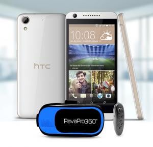 HTC Desire 626 Smartphone 4G Android 4.4 1GB Ram 16 GB Storage 5 Inch Display, White with PavaPro 360 Virtual Reality Muti-Colour Headset