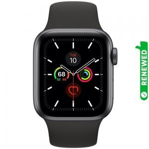 Apple Watch Series 5 GPS 44mm Aluminum Case With Black Sport Band Space Gray, Renewed- S
