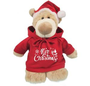 Caravaan Mascot Bear size 28cm w/ Satnat Hat and Hoodie with Merry Christams print  STT41X