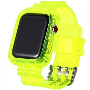 Green Ultra Transparent TPU Watch Band With Case 40mm / 42mm For Apple Watch 4 And 5, Yellow